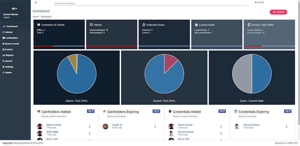 Maxxess dashboard showing 6.2.4 Updates to InSite, MX+, eFusion & Ambit